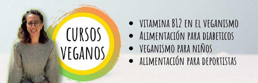 anuncio de cursos veganos con logo y foto de ximena
