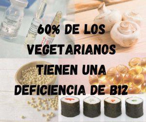 Anuncio de vitamina b12 vegana con alimentos que contienen cantidades pequeñas de b12 en el fondo