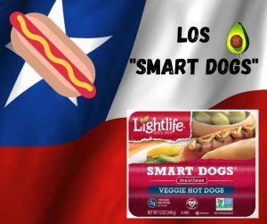 smartdogs. hot dogs veganos de chile producto vegano bandera chilena